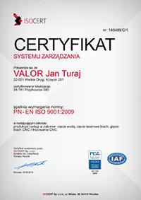 certyfikat jakości valor